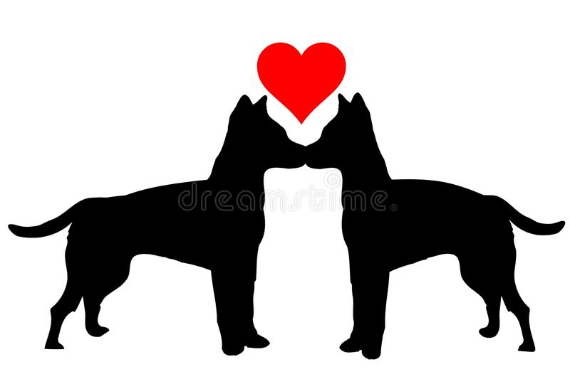 Illustration of dogs in love on white background stock illustration