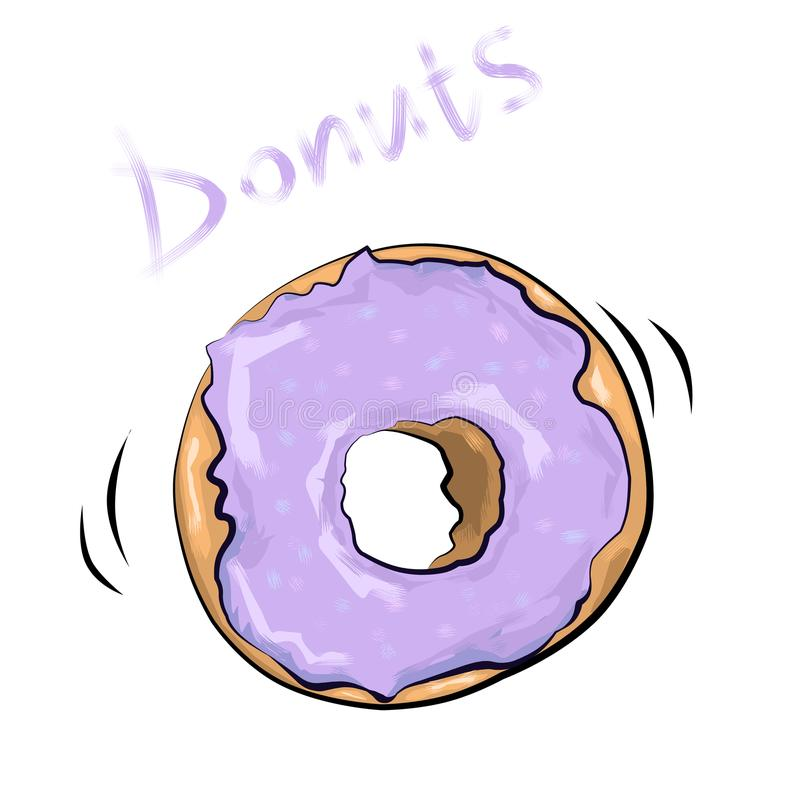 illustration donuts in lilac glaze stock image