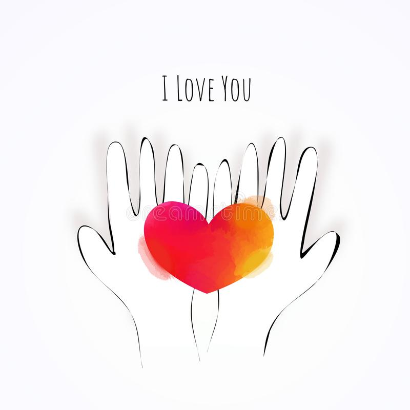 Illustration of doodle hands holding watercolor heart. Love concept, Valentine`s day background. Vector illustration. Wallpaper, stock illustration