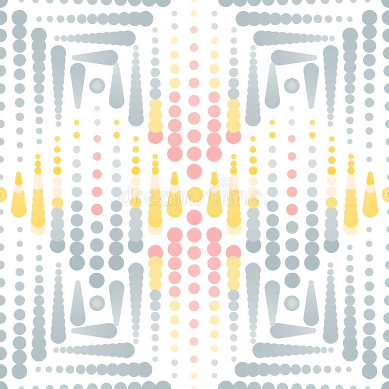 Illustration of dots and circles. Vector Illustration of blended grey, yellow and pink dots and circles on white background. This elegant, stylish seamless vector illustration