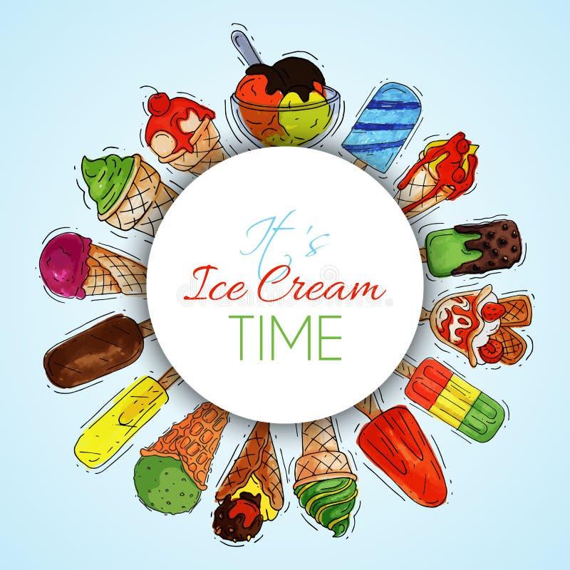 Illustration douce fraîche d'été rond de modèle de crème glacée et à froid naturelle de vecteur de nourriture Cône savoureux fait illustration stock