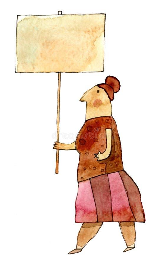 Illustration drôle d'aquarelle d'un conducteur fou photo libre de droits