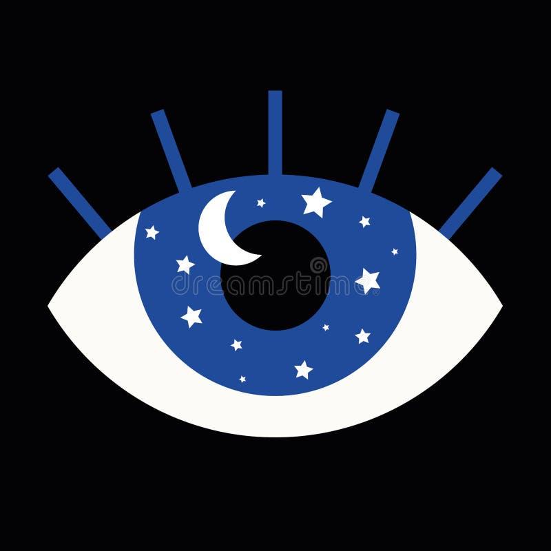 Illustration drôle d'oeil avec les étoiles et la lune dans son pupi illustration stock
