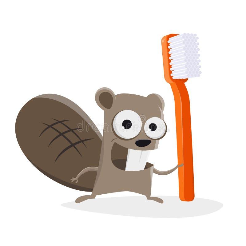 Illustration drôle d'un castor de bande dessinée avec une brosse à dents illustration stock