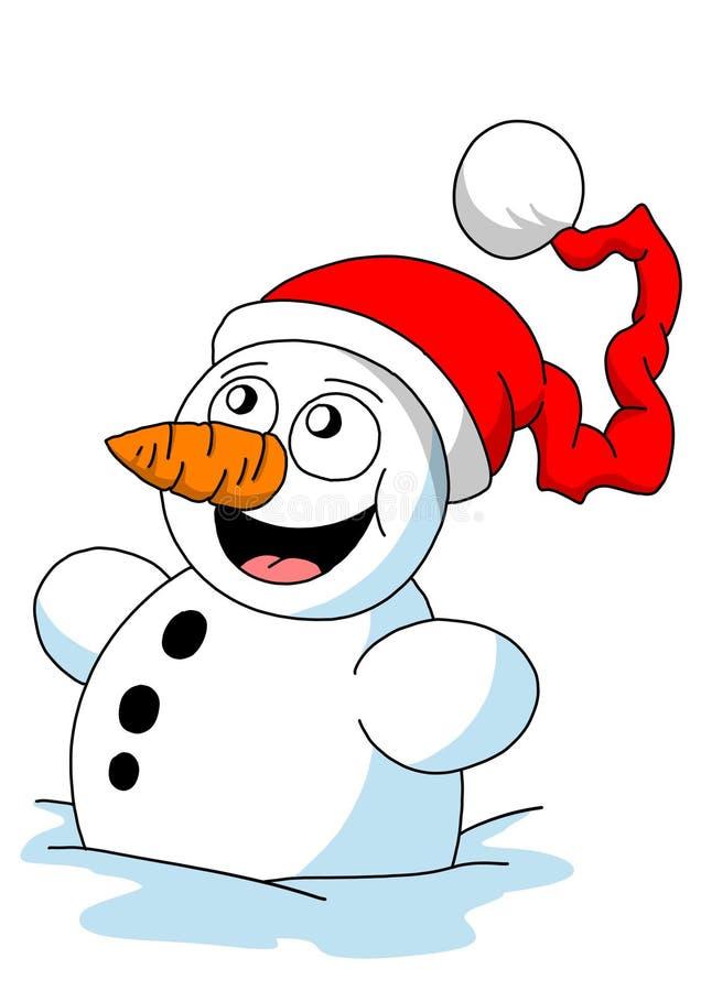 Illustration drôle de bonhomme de neige de bande dessinée, thème de Chritmas photo stock