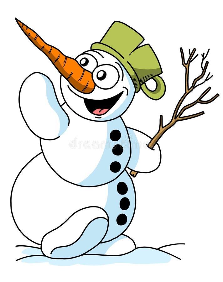 Illustration drôle de bonhomme de neige de bande dessinée, thème de Noël photos stock