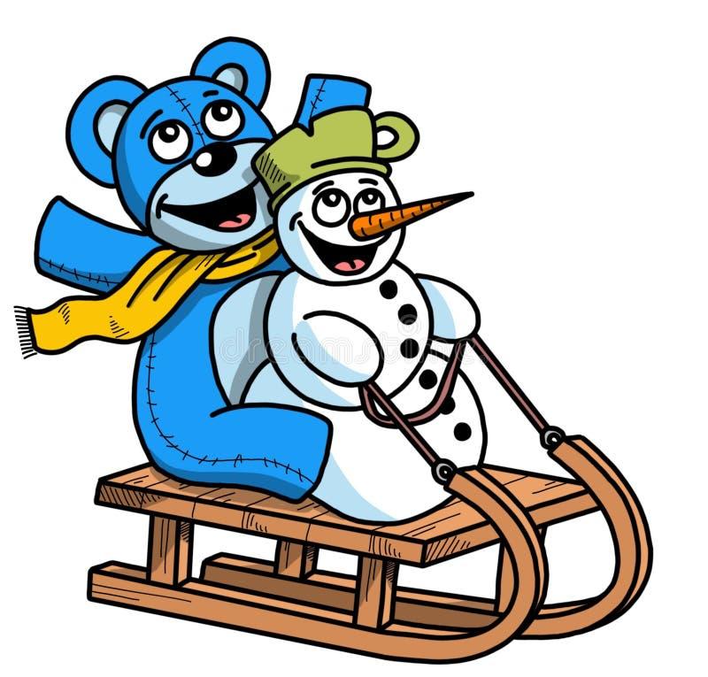 Illustration drôle de bonhomme de neige et d'ours de bande dessinée, thème de Chritmas photo libre de droits