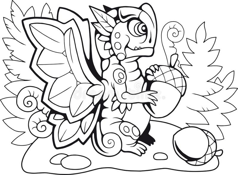 Illustration drôle de livre de coloriage de papillon de dragon illustration stock