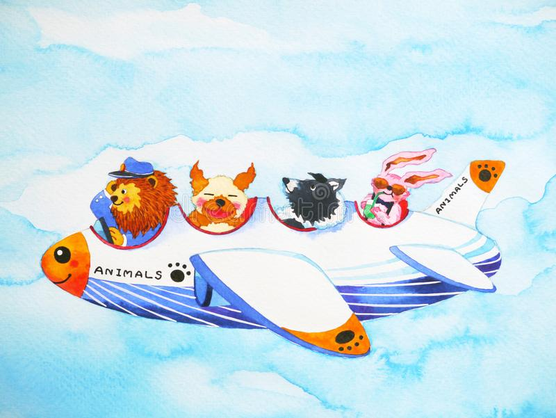 Illustration drôle de peinture d'aquarelle de bande dessinée de lignes aériennes d'animaux illustration stock