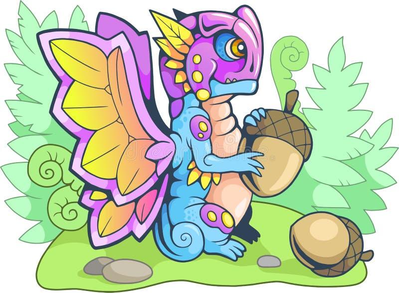 Illustration drôle de petit papillon de dragon de bande dessinée illustration de vecteur