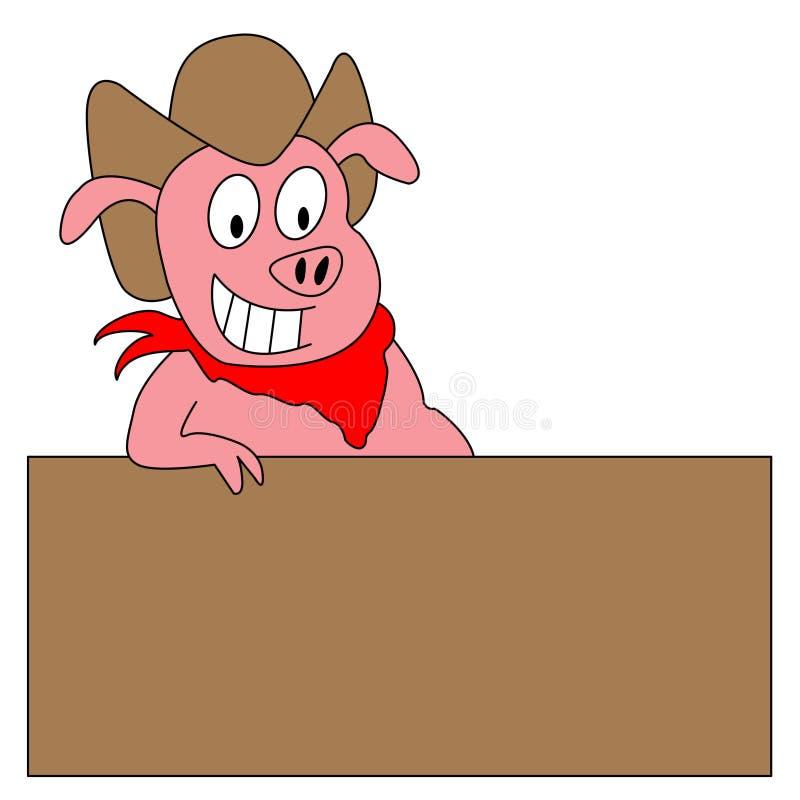 Illustration drôle de porc de dessin animé avec le signe blanc illustration stock