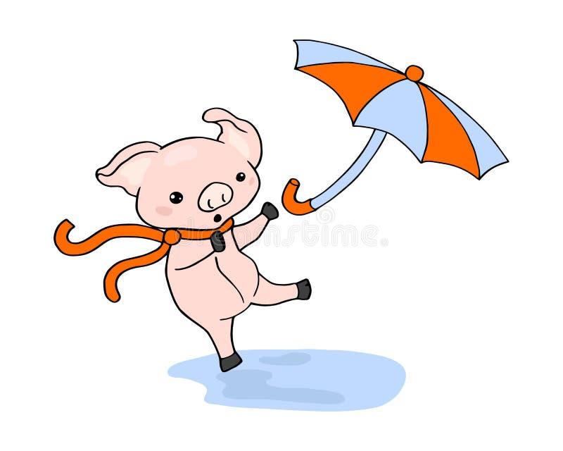 Illustration drôle de scène de porcelet et de parapluie sur le fond blanc Scène de saison d'automne avec le caractère animal mign illustration stock