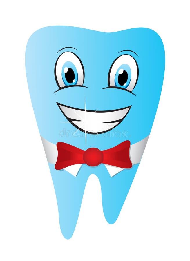 Illustration drôle de sourire de vecteur de caractère de mascotte de dent illustration stock