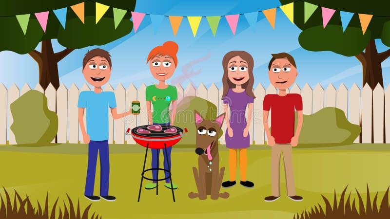 Illustration drôle de vecteur des amis ayant un barbecue illustration de vecteur