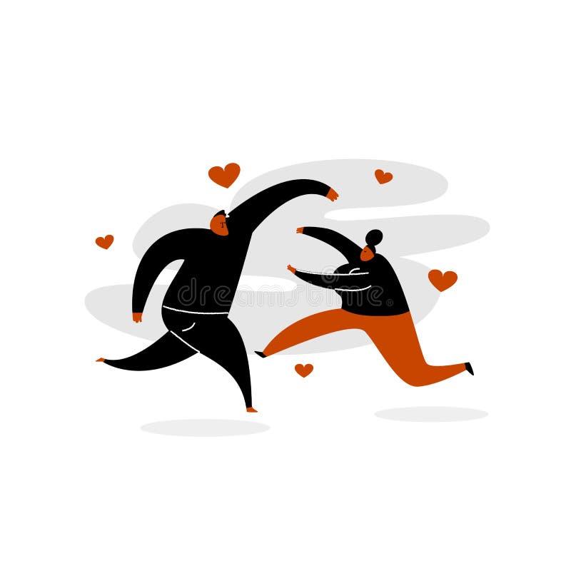 Illustration drôle de vecteur des couples dans l'amour fonctionnant entre eux illustration stock