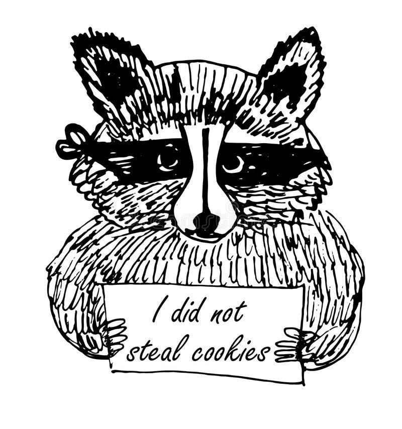 Illustration drôle de croquis de voleur de raton laveur de photo de bande dessinée illustration de vecteur