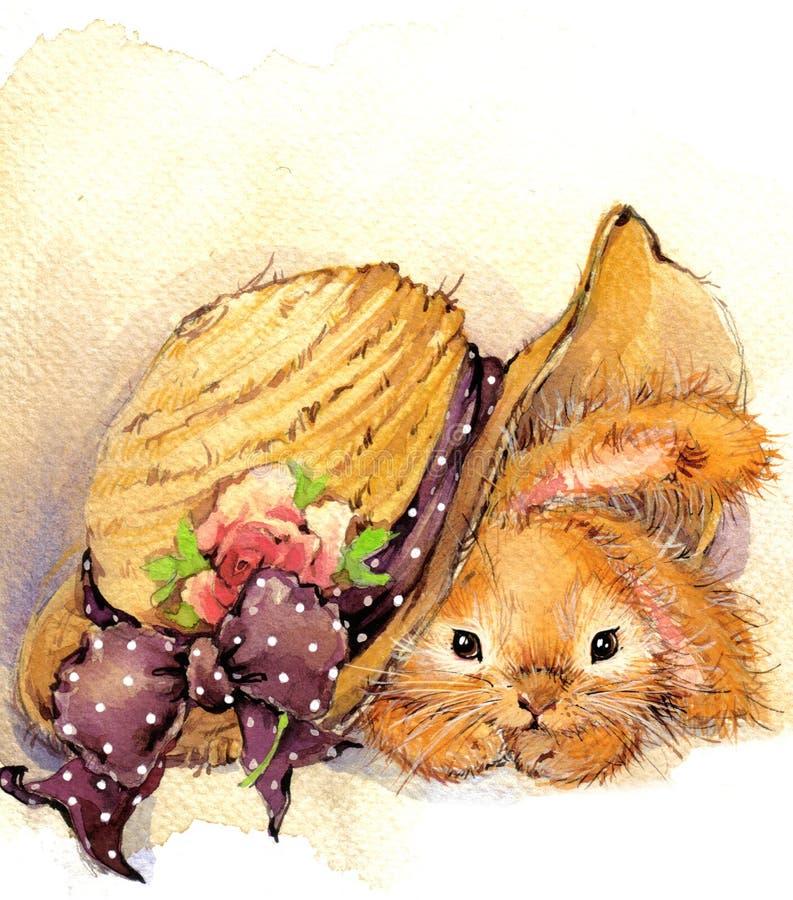 Illustration drôle de lapin et de fleurs illustration libre de droits