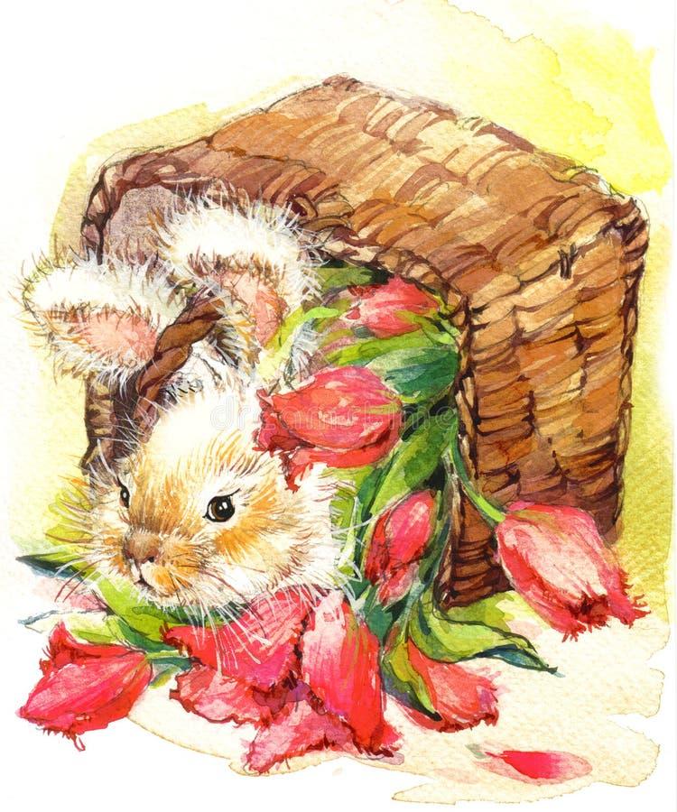 Illustration drôle de lapin et de fleurs illustration de vecteur