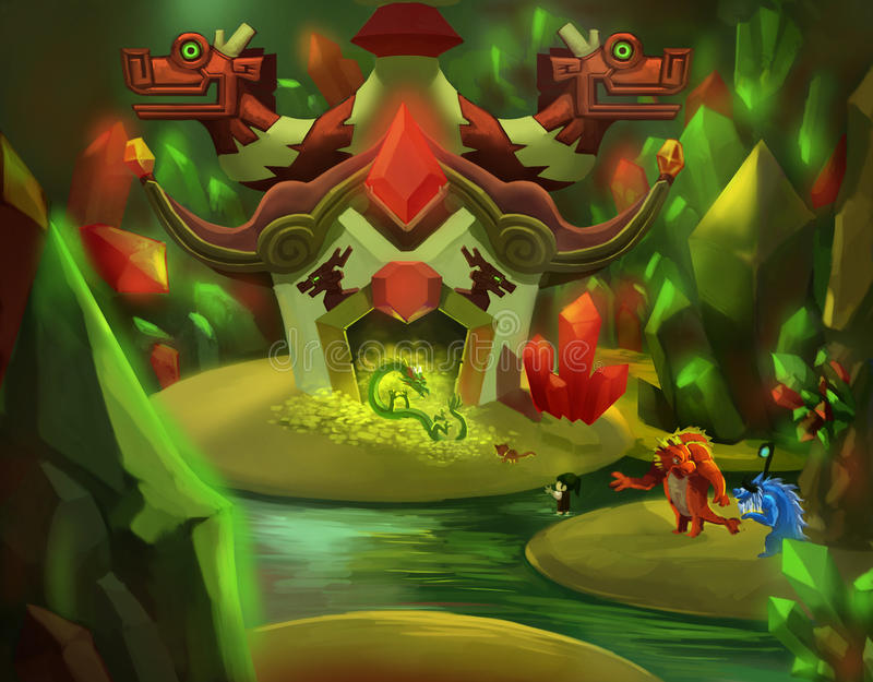 Illustration: The Dragon's Gem Cave. royalty free illustration