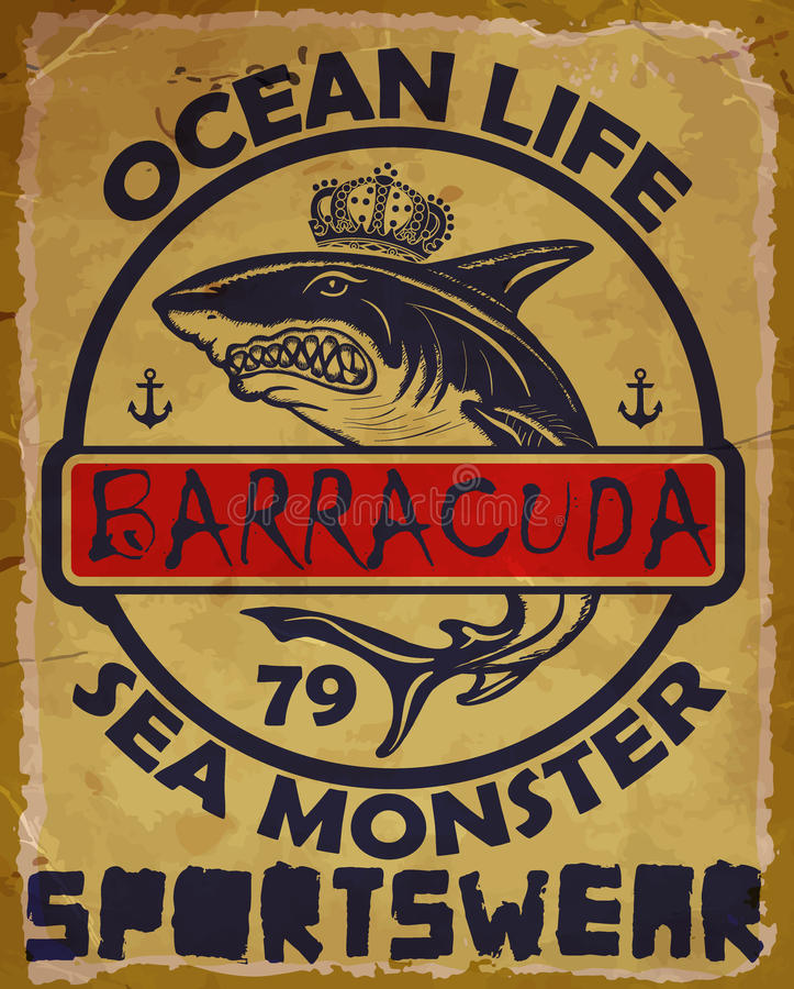 Illustration drawing dangerous shark. Vector illustration. royalty free illustration