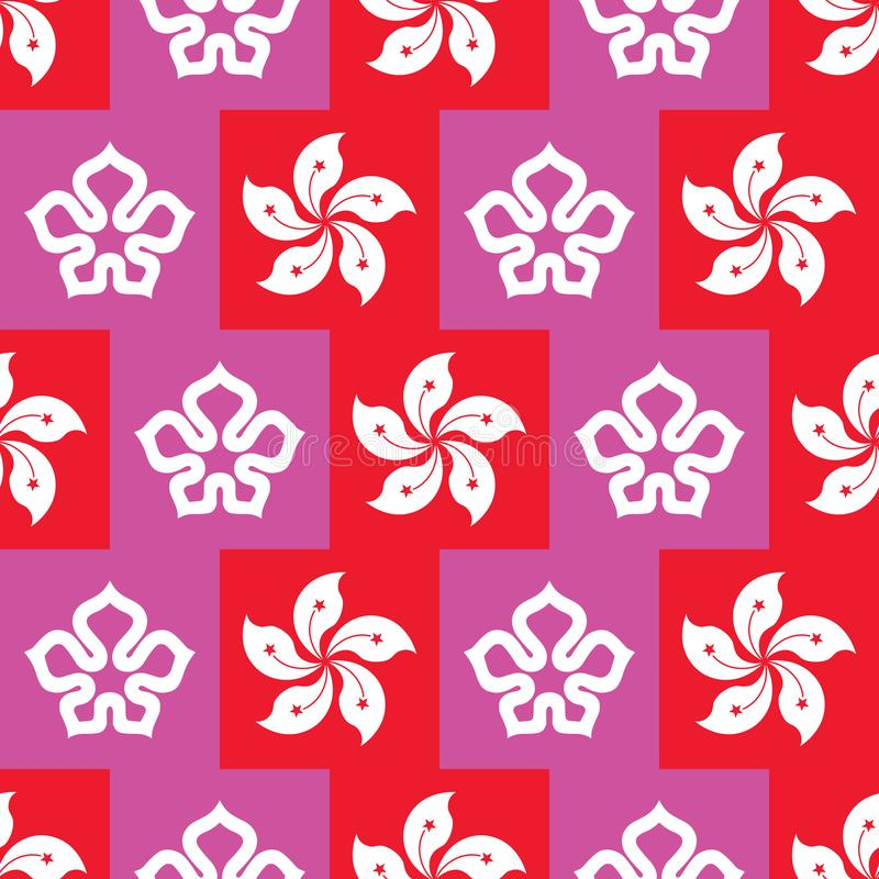 HK flag element urban council sign seamless pattern. This illustration is drawing Hong Kong flag element and urban council sign in flat rich red and purple royalty free illustration
