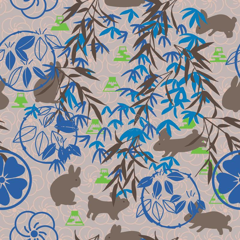 Japanese Mon bamboo Fuji rabbit brown blue fabric seamless pattern. This illustration is drawing Mon, bamboo, Fuji mountain and decoration abstract rabbit peace royalty free illustration