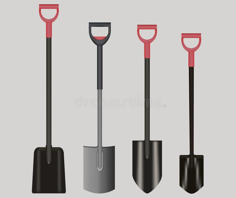 Illustration drawing of Shovels with red Handles royalty free stock image