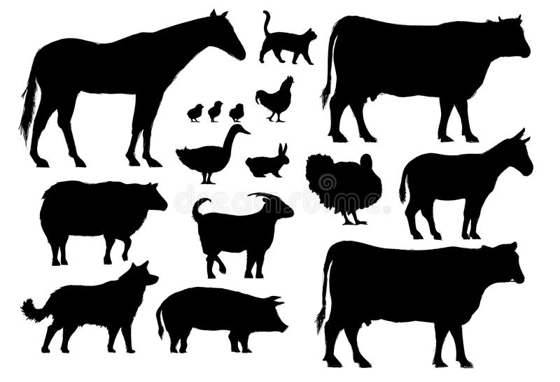 Illustration drawing style of farm animals collection vector illustration