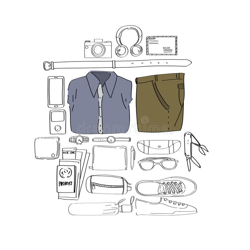 Illustration Drawing Travel Pack Collection. Concept royalty free illustration