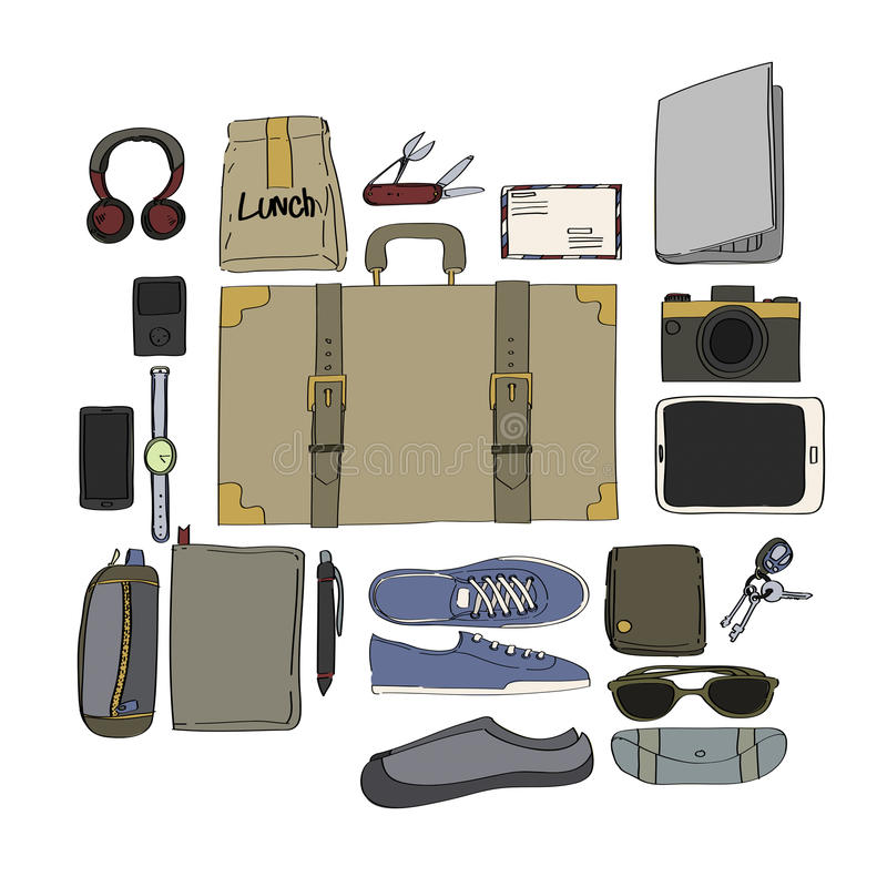 Illustration Drawing Travel Pack Collection. Drawing Travel Pack Collection Concept royalty free illustration