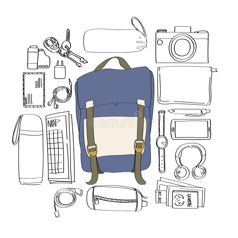 Illustration Drawing Travel Pack Collection Concept. Illustration Drawing Travel Pack Collection vector illustration