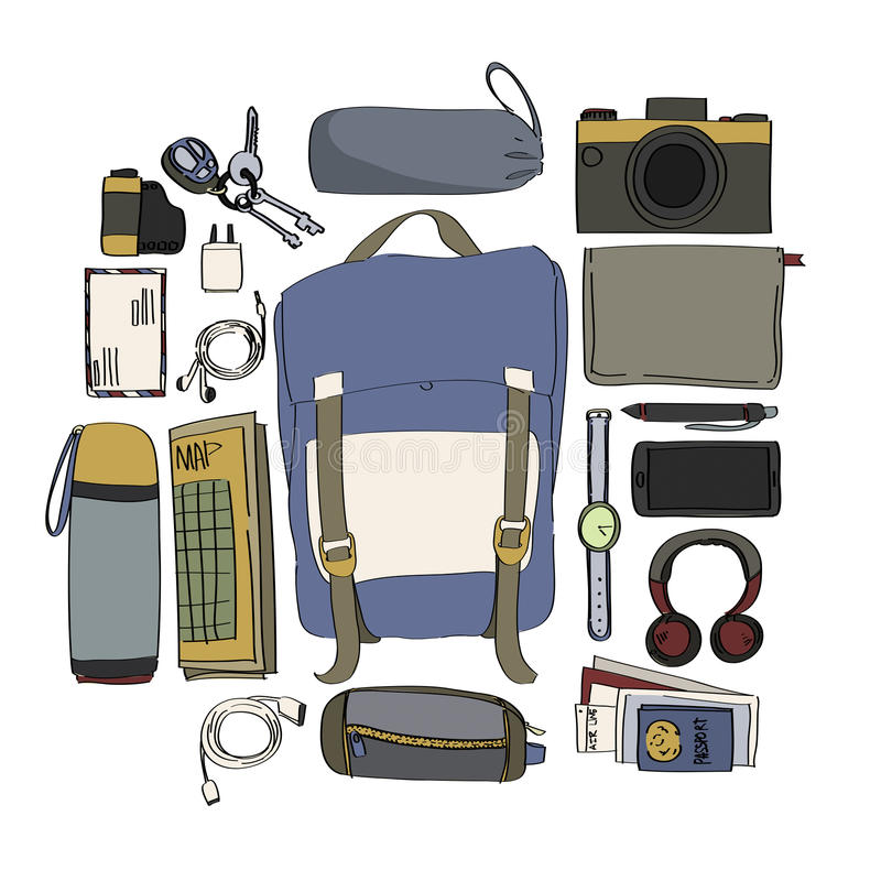 Illustration Drawing Travel Pack Collection Concept. Illustration Drawing Travel Pack Collection royalty free illustration