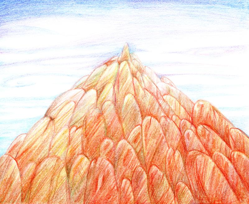 Illustration drawn by hand with colored pencils, a large pointed rock of orange rounded stones against a blue sky with clouds royalty free illustration