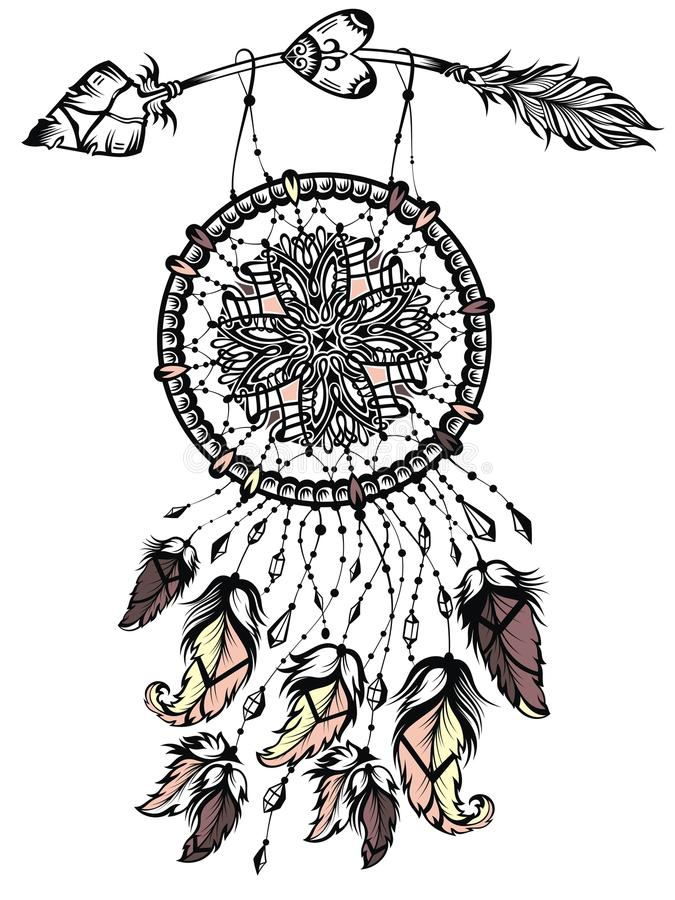 Illustration of dream catcher with arrow, native american poster.Tattoo design vector illustration