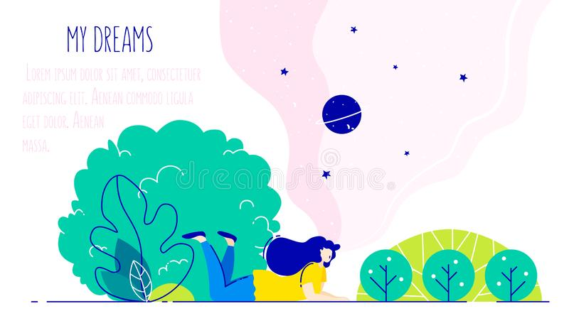 Illustration with dreaming girl in the park. Romantic card in trendy flat linear style. Vector stock illustration