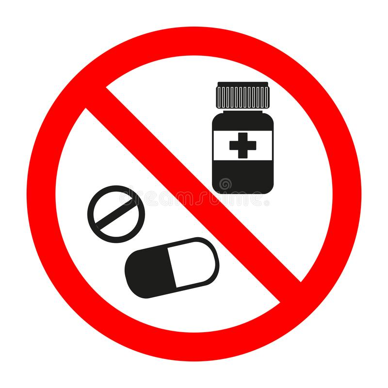Drugs icon in prohibition red circle, No doping ban or stop sign, medicine forbidden symbol. Illustration Drugs icon in prohibition red circle, No doping ban or royalty free illustration