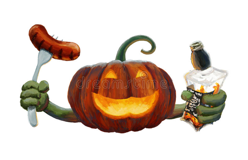 Illustration of drunk, funny, Pumpkin Jack with a bottle of whiskey and a sausage in his hands. stock photo
