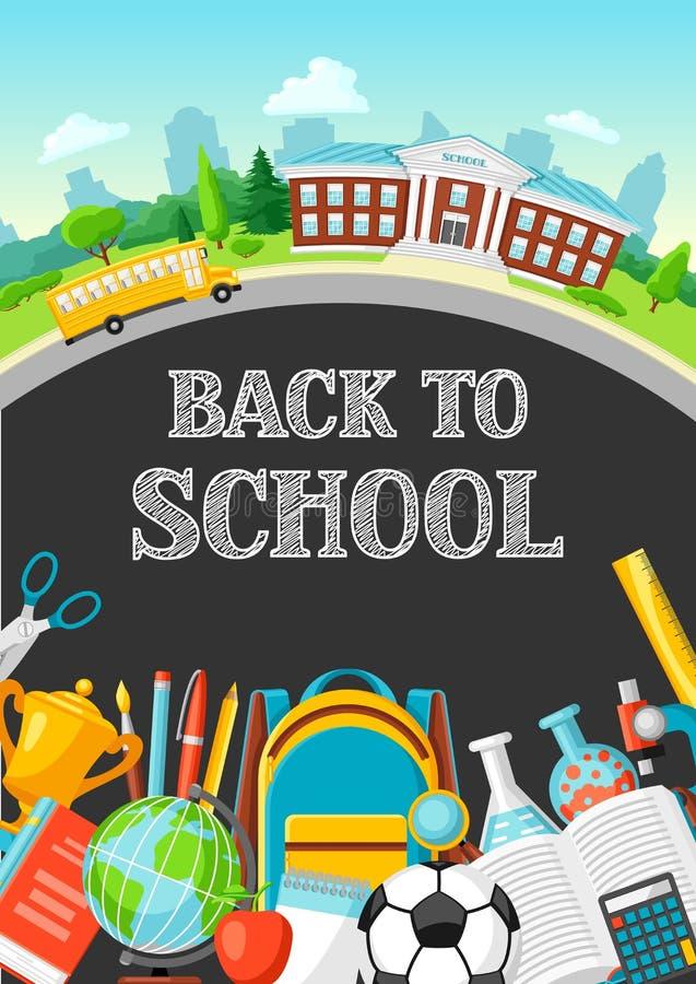 Illustration du bâtiment scolaire et de l'autobus illustration libre de droits