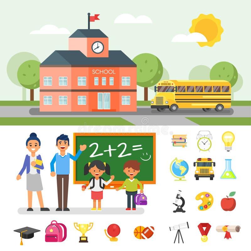 Illustration du bâtiment scolaire et de l'autobus jaune illustration libre de droits