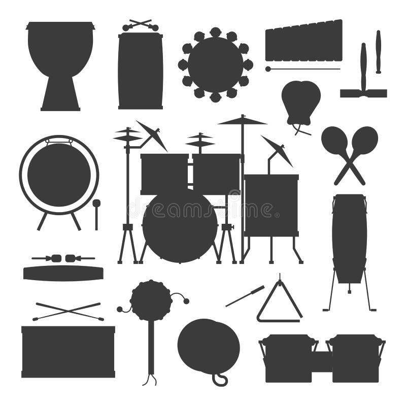 Illustration du bois de vecteur de représentation de musicien de percussion de série d'instrument de musique de rythme de silhoue illustration libre de droits
