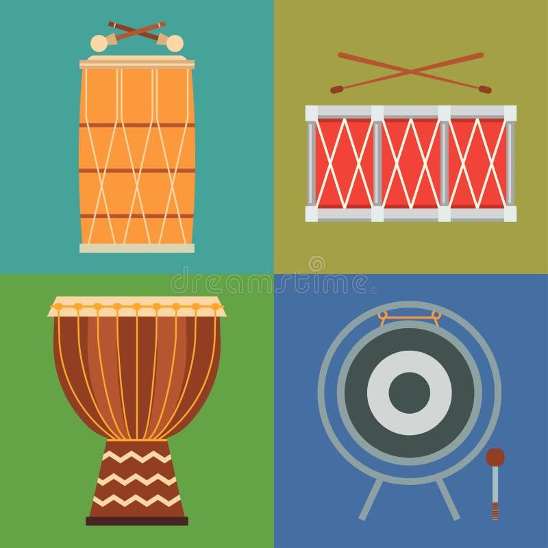 Illustration du bois de vecteur de représentation de musicien de percussion de série d'instrument de musique de rythme de tambour illustration libre de droits