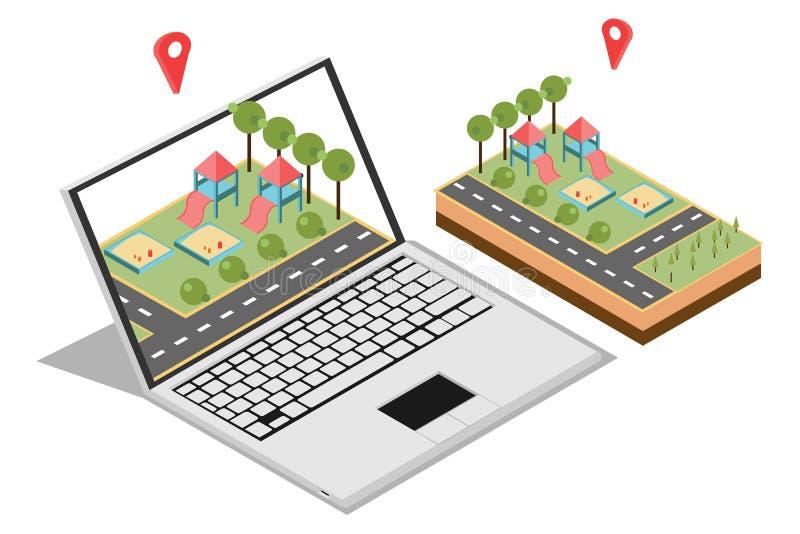 Illustration du concept de commercialisation à la maison avec isométrique, approprié aux diagrammes, à l'Infographics, à l'illust illustration libre de droits