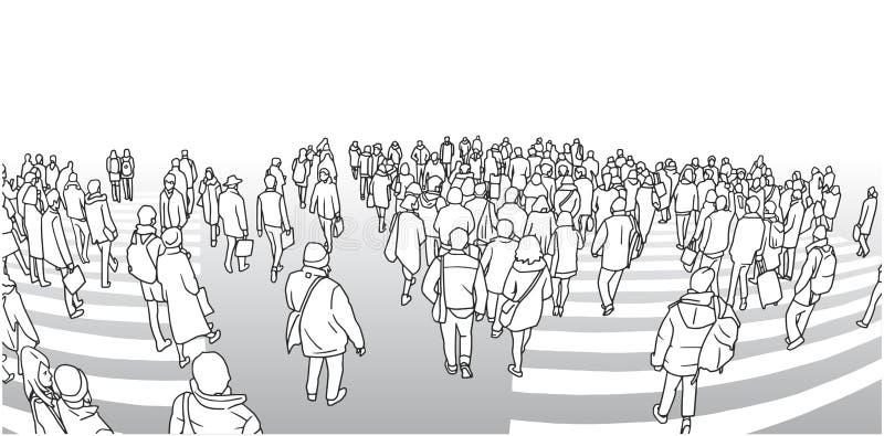 Illustration du croisement de rue passante dans la perspective illustration libre de droits