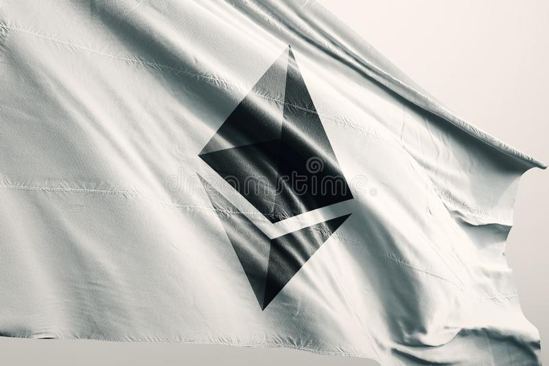 Illustration du drapeau 3d de cryptocurrency d'Ethereum ETH illustration stock