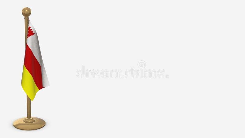 Illustration du drapeau de Santa Barbara California 3D accrochée au mât doré illustration stock