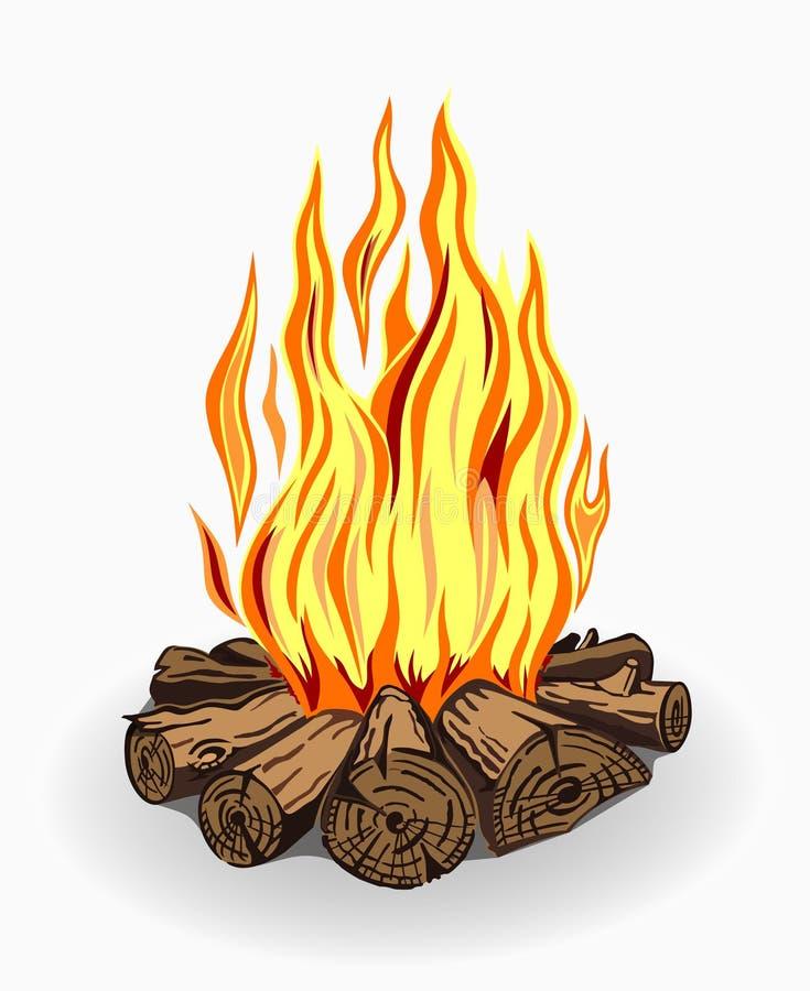 Illustration du feu de camp sur le blanc illustration stock