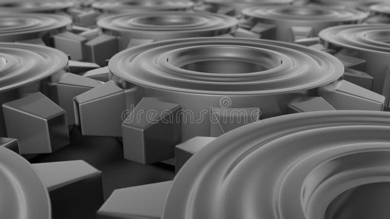 illustration du fond 3D d'un ensemble, d'un groupe de vitesses en métal d'or, de l'argent et du platine fonctionnant dans une équ illustration libre de droits