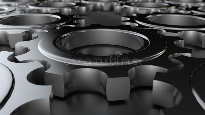illustration du fond 3D d'un ensemble, d'un groupe de vitesses en métal d'or, de l'argent et du platine fonctionnant dans une équ illustration stock