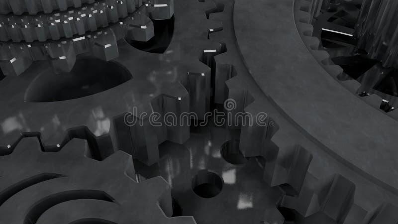 illustration du fond 3D d'un ensemble, d'un groupe de vitesses en métal d'or, de l'argent et du platine fonctionnant dans une équ illustration de vecteur