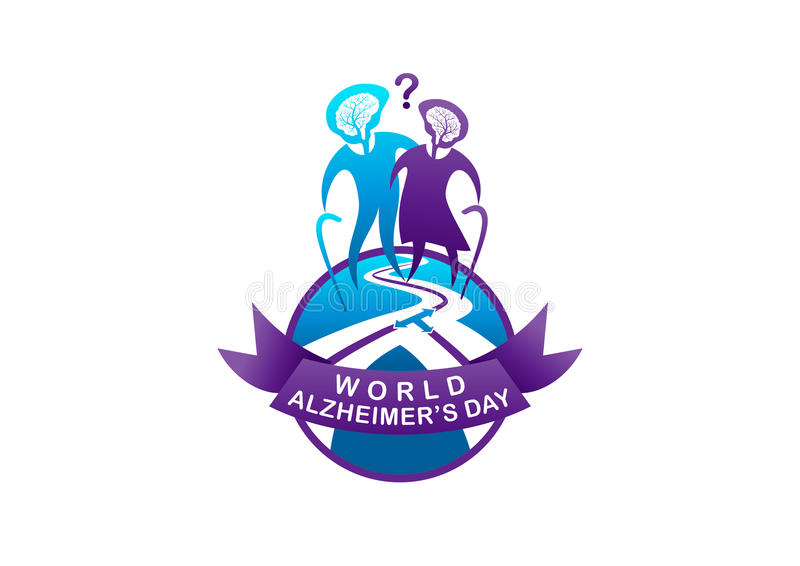 Illustration du jour d'Alzheimer du monde illustration libre de droits